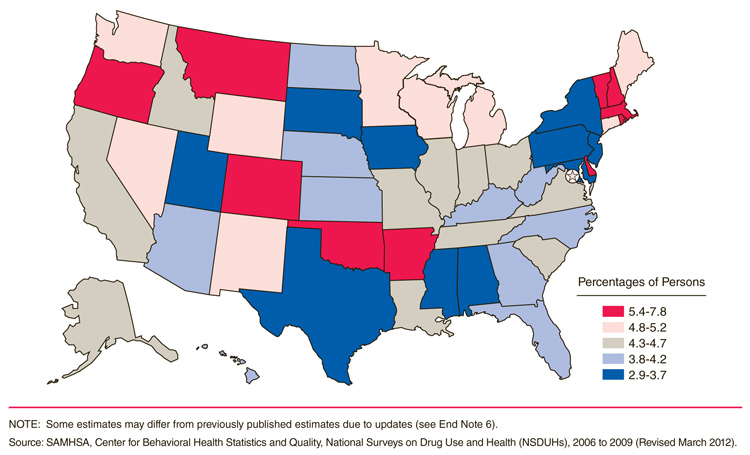 Map of Percentage of Drunk and Drugged drivers by state.